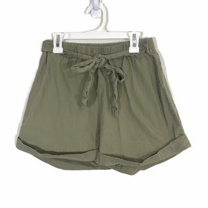 Shein High Waisted Olive Green Tie Shorts Sz M
